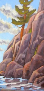 Single-Pine-on-Lake-Clear-Cliff-12x24-$450-unframed