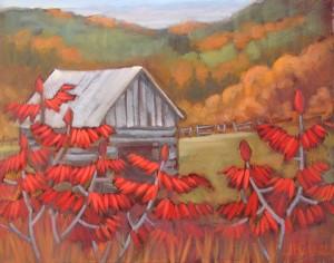 Barn-and-Sumachs-16-x-20-$650-framed